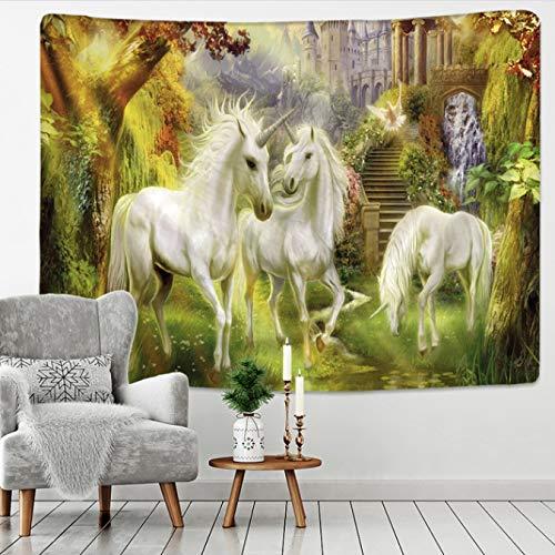 Unicornio decoración Tapiz Colgante de Pared Tela de Fondo Alfombra de Pared de Navidad Tienda de campaña colchones de Viaje 150 * 200Cm