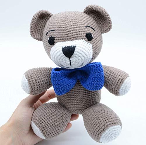 Bebé oso de peluche con corbata de lazo azul, juguete de