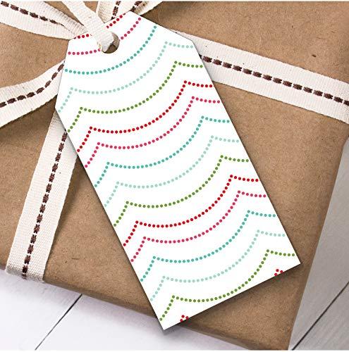 Roze groene slinger Kerstmis Gift Tags