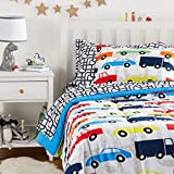 Amazon Basics Easy Care Super Soft Microfiber Kid's Bed-in-a-Bag Bedding Set - Twin, Multi-Color Racing Cars