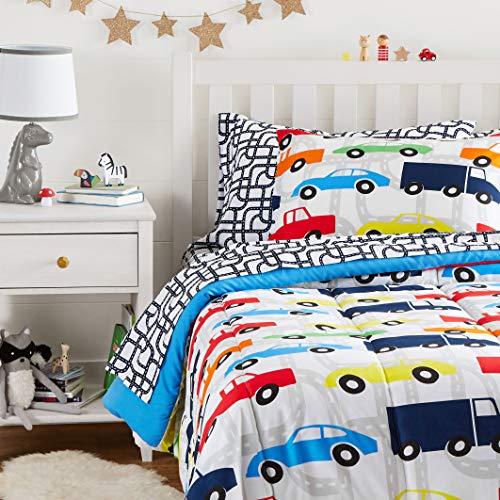 Amazon Basics - Juego de cama de microfibra suave, diseño infantil, coches de carrera multicolor, individual