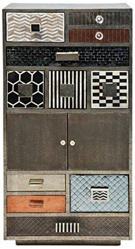 Kare Hochkommode Chalet, 77604, antike, massive Kommode mit 11 Schubladen und 2 Türen, grau-silber (H/B/T) 120x60x40cm