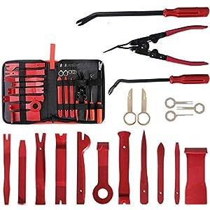 Tian 19Pcs Kit Herramientas de Desmontaje Coche Interior Herramientas de Eliminación de Desmontar para Radio Coche Panel de Salpicaderos(Rojo)