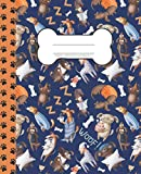 Primary Composition Notebook K-2: Learn With Luna. Draw and Write Journal 7.5x9.25 inches. Cute Dog Pyjama Party Design with Thematic Paw Print Spine. Fun Learning for Boys and Girls