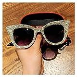 KTAIS Oversized Sunglasses, Ladies Handmade Golden cat Eye Sunglasses, Retro Clear Mirrors, Fashionable Sunglasses (Color : Silver)