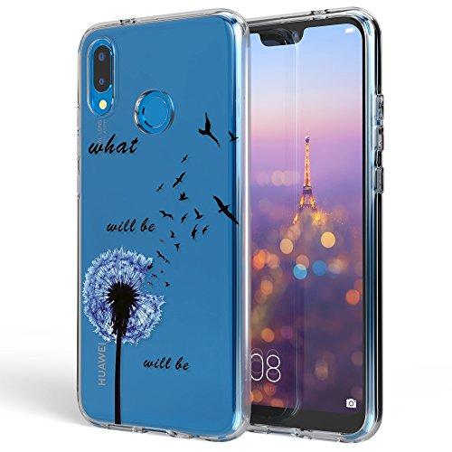 NALIA Funda Carcasa Compatible con Huawei P20 Lite, Motivo Design Movil Protectora Ultra-Fina Silicona Cubierta Goma Gel Estuche Telefono Bumper Ligera Cover Phone Case, Designs:Dandelion Azul