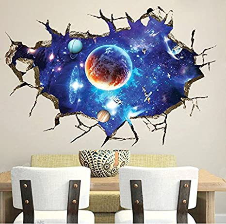 Chans 3d Wall Stickers Cracked Wall Effect Planet World Outer Space Vinyl Wall Art Stickers Diy Mural Wall Decals Home Kitchen