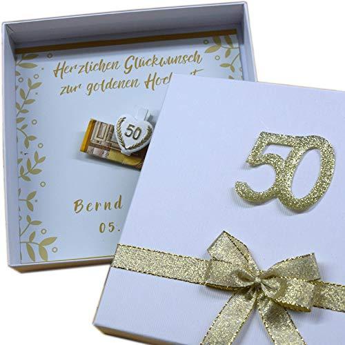 Geld Geschenk Box personalisiert zur goldenen Hochzeit