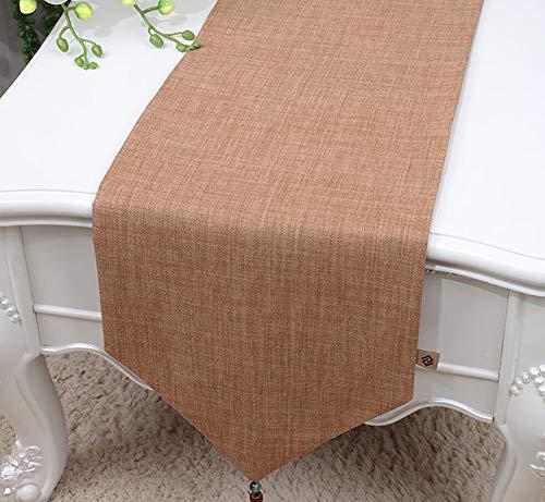 NUANXIN Tafelkleed, polyester katoenen dressoir met kwasten, ideale salontafel of keukentafel beddengoed decoratie, Bruin, 33 * 150cm