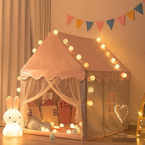 Rosa Tenda Gioco Bimba con Luci a Stella a LED,Tenda Casetta Bambina de Villetta Tende Per Bambini Da Giocoper Ragazzi e Ragazze, Fantasioso Universale Indoor-Outdoor,105x120x140cm