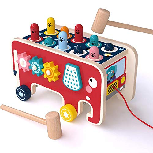 HSCW Juguetes para niños, Juguetes de martillo de madera, Juguete de hámster tirador de elefante de dibujos animados, Coordinación de ojo de mano de ejercicio, Cognición digital, Juguetes educativos d