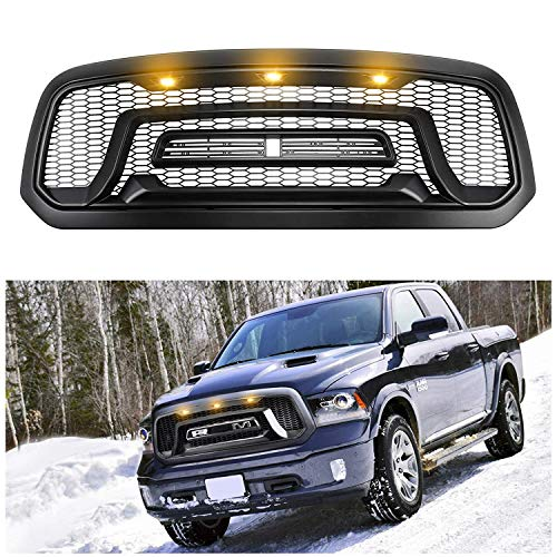 Front Grill Compatible with Dodge Ram 1500 2013-2018 Rebel ABS Grill with Letters and 3 Amber LED lights