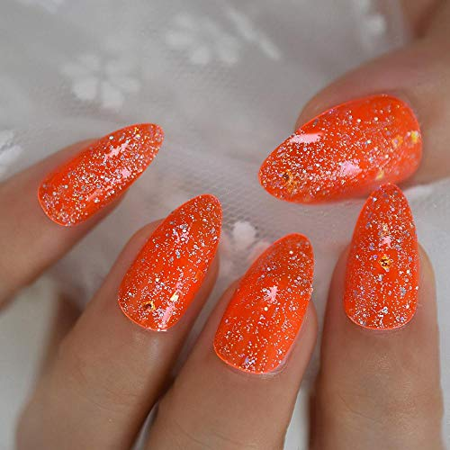 TJJF Orange Stiletto False Nails Neon Medium Appuyez sur les ongles Transparent Tips Full Cover 24
