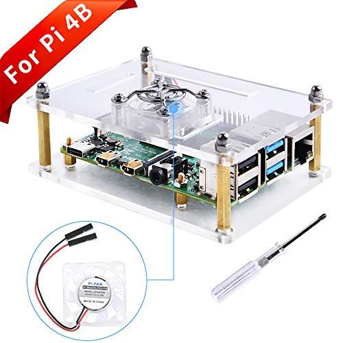 Raspberry Pi 4モデルBおよびRaspberry pi 3モデルB +用GeeekPiアクリルケース、Raspberry Pi 3/2モデルB / B +用冷却ファン付きRaspberry Piケース (クリア)