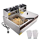 ReaseJoy 12L 5000W Commercial Electric Countertop Stainless Steel Dual Tank Deep Fryer Restaurant