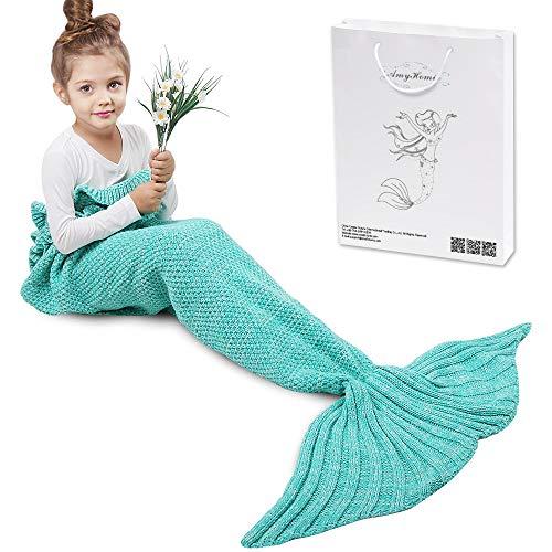 Meerjungfrau Decke, Amyhomie Handgemachte häkeln meerjungfrau flosse decke für Kinder, Mermaid Blanket alle Jahreszeiten Schlafsack
