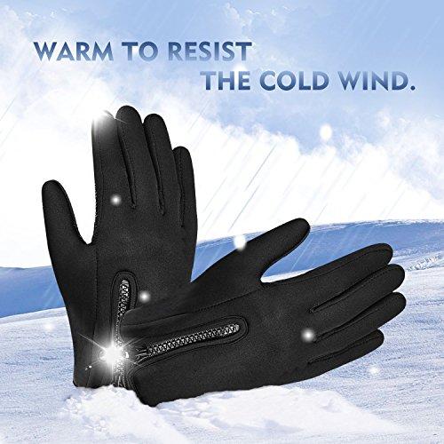 Touchscreen Handschuhe, Aodoor (Grösse L) Herbst Winter Unisex Warme Fahrradhandschuhe Winddicht und Touchscreen für Smartphone Sport Handschuhe Motorrad Jagd Kletter Handschuhe, Schwarz - 3