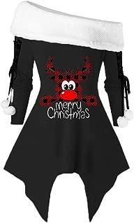 Women's Off Shoulder Long Sleeve Merry Christmas Print Irregular Hem Bandages Tops Tunic Blouse