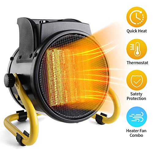 PROWARM Ceramic Air Fan Heating Tip Electric Space Heater with Thermostat Adjustable Modes Overheat Protection Oscillating Home Office Use 20/750/1500W,Portable, Small, Yellow Electric heaters Space