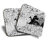 Great Coaster (juego de 2) Square BW - Awesome Bitcoin Mining? Posavasos de calidad brillante para cualquier tipo de mesa #35249