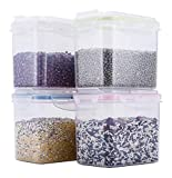 Tarros cocina Cereales Contenedores 4 combinación mixta de plástico transparente de almacenamiento de grano Contenedor de cocina refrigerador Alimentos tuerca de sellado a prueba de humedad de almacen