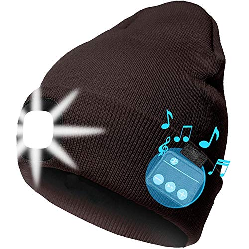 Bluetooth Beanie Hat with Light, LED USB Rechargeable Wireless Music Headphones Speaker Hat Speakerphone Knitted Tech Caps LED Hat for Running Hiking, Unisex Gifts for Men Women Teens