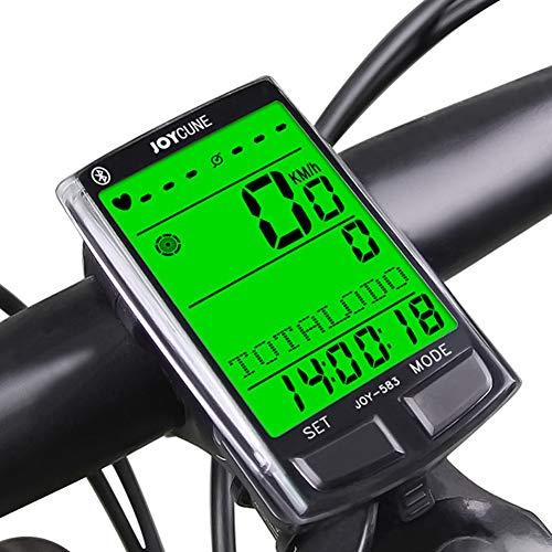 Velocímetro inalámbrico Odómetro Computadora de Bicicleta Velocímetro Bluetooth con Sensor de cadencia Monitor de Ritmo cardíaco Luz de Fondo LCD Impermeable Temporizador de Bicicleta