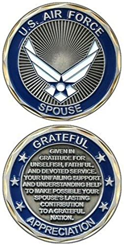United States Military US Armed Forces Air Force Spouse Creedo - Good Luck Double Sided Collectible Challenge Pewter Coin by Eagle Crest