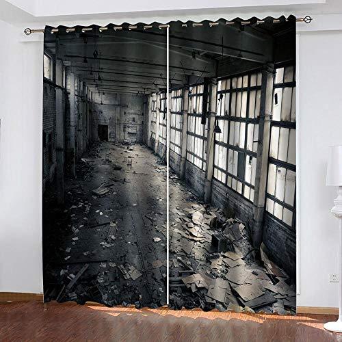 PTBDWOSA Cortinas Salón Moderno - Cortinas Opacas Impresión Digital 3D Almacén De Residuos Retro Adecuado para Dormitorio Sala De Estar Oficina Decoración 170(W) X200(H) Cm 2 Paneles