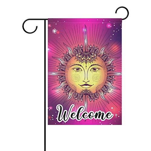 N/A Bandera de bienvenida para jardín, estilo vintage, con cara de sol, galaxia, planeta, doble cara, para jardín, patio, decoración al aire libre, bandera vertical de jardín, 71,1 x 101,6 cm
