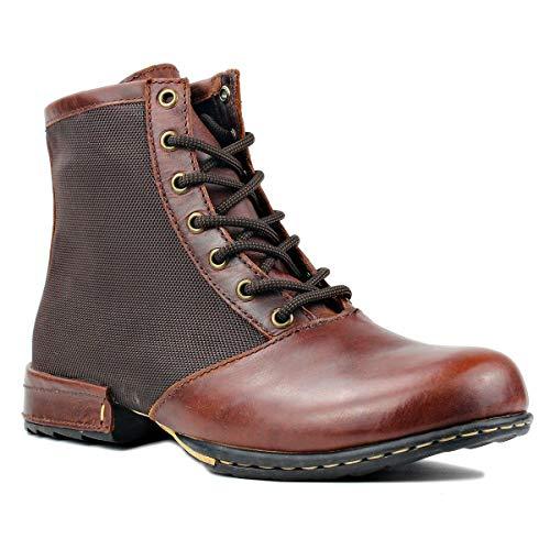 OSSTONE Herren Leder chukkastiefel Worker Biker Boots-Motorrad-Leder-Schuhe für Schnürstiefeletten Boots 5008-2-Rot-Braun 8.5