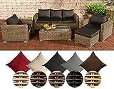 CLP Luxus ratán jardín juego de sofá MADEIRA 3–1-1, Natura, 5mm de ratán con marco de aluminio (asientos 5personas), Natura, Cushion: Anthracite