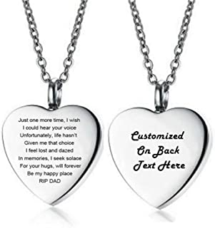 LF Stainless Steel Personalized Cremation Jewelry for Mom Dad,Cremation Necklace Locket Memorial Urn Keepsake for Ashes Sentiment Motivational RIP Engraved Heart Pendant,Free Engraving