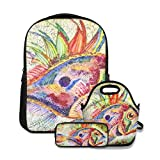 Conjunto de mochila escolar,Trucha Peces Brillante Estilizado Ojo...