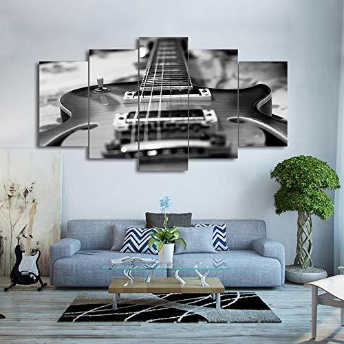 FBIRTY Leinwanddrucke Kein Rahmen Wohnkultur Für Wohnzimmer HD Gedruckt Musik Bilder 5 Stücke Gitarre Leinwand Malerei Vintage Schwarz Whitewall Kunst