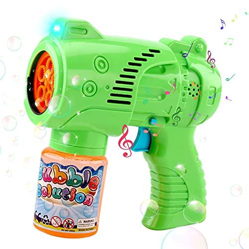JoyGrow Pistola a Bolle di Sapone per Bambini,Automatica Macchina Bolle con Musica Luce LED Acqua Saponata,Macchina Sparabolle di Sapone Giocattoli per Compleanno,Matrimonio,all'aperto Feste (1PCS)