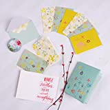 Doodle Gift of Glee Set of 12 Floral Printed Notecards, Thank You Cards, Greeting Cards, Notecards for All Occasions