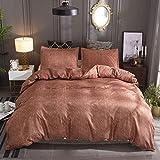 BH-JJSMGS Polyester Mikrofaser Bettbezug, Bettwäsche und Kissenbezug, Baumwolle und Leinen - Kaffee 150 * 200 zweiteilig