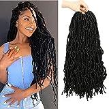 7 Packs New Soft Locs Crochet Hair, 18 Inch New Faux Locs Crochet Hair Pre Looped Synthetic Braiding Hair for Black Women(18 Inch, 1B#)