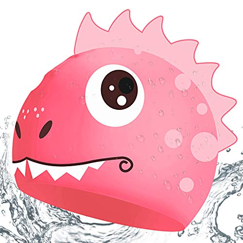 CybGene Silicone Cuffia Piscina Per Donna E Uomo, Cuffia Da Nuoto Per Adulto E Bambino Dinosauri Rosa