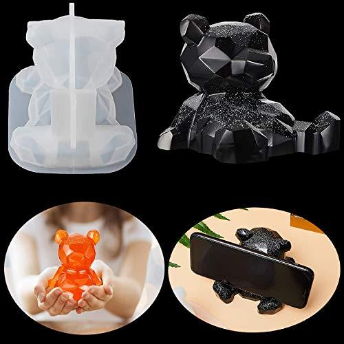 Stampi in resina a forma di orso 3D in resina epossidica, stampo in silicone, supporto per telefono in cristallo per gioielli e candele per decorazione domestica, regalo fai da te