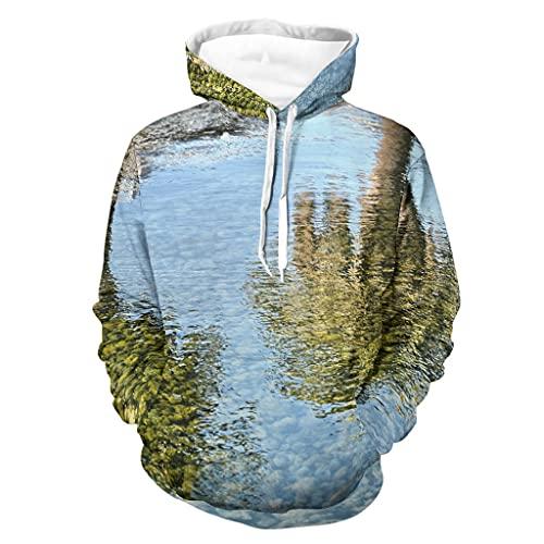 Sudadera con capucha unisex para hombre y mujer, diseño de paisaje y lago, agua, árbol, reflejo gráfico, sudadera, sudadera deportiva, color blanco M