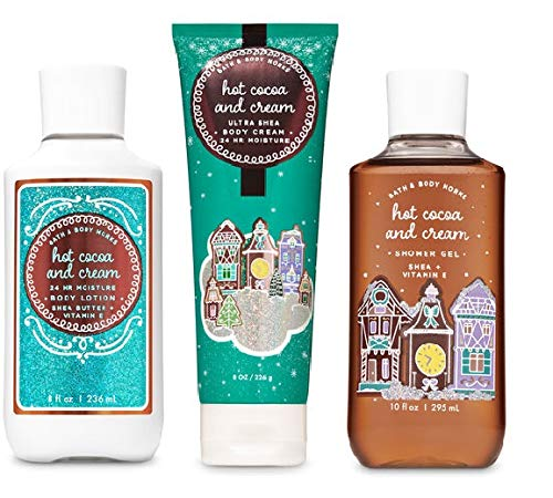 Bath and Body Works HOT COCOA AND CREAM Trio Gift Set - Ultra Shea Body Cream - Shower Gel and Body Lotion - Full Size