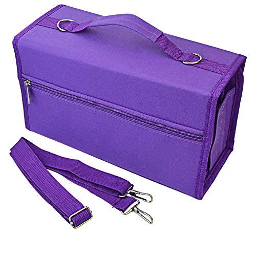 Tashido 80 ranuras de gran capacidad plegable rotulador estuche arte marcadores pluma bolsa para el transporte durable herramientas de bocetos organizador violeta