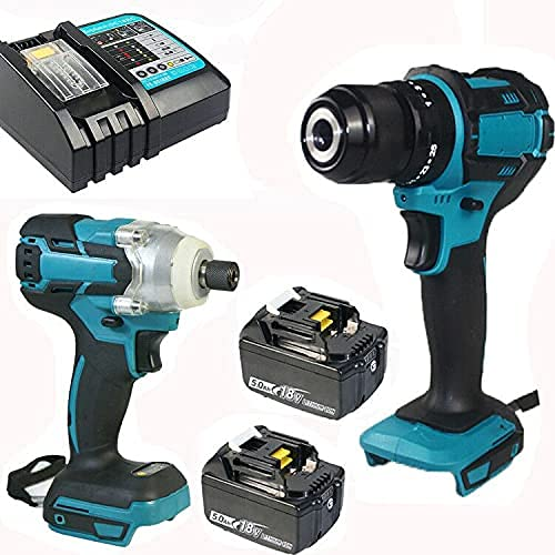 MIJPOJAN Electric Impact Wrench Cordless, 18V Cordless Impact Wrench Impact Drill Twin Kit Set Combi Drill for+ 2 x 5.0Ah Li-ion Battery+ DC18RC Replacement