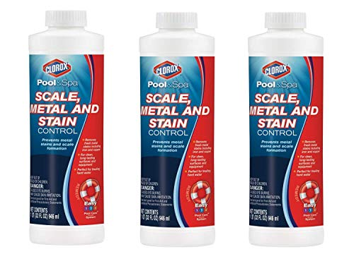 CLOROX Pool&Spa Scale, Metal and Stain Control, 1-Quart, Pack of 3
