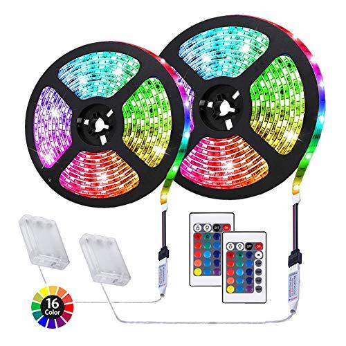 ACONDE 6.56 feet Battery Powered LED Strip Lights, 24 Keys Remote Controlled, DIY Indoor Decoration, 2 Pack