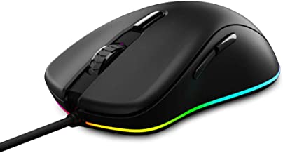 DAREU Wired Gaming Mouse 6 Programmable Buttons 6400 DPI Adjustable 16.8 Million Chroma RGB Backlit Comfortable Grip Ergonomic Optical Sensor Gaming Mice for Notebook PC Laptop Computer –Black EM908