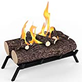 Regal Flame 18' Ethanol Fireplace Grate Log Set with Burner Insert for Easy Conversion from Gas Logs, Gel, Wood Log, Electric Log, Electric Fireplace Insert or Wood Burning Fireplace Insert (Oak)