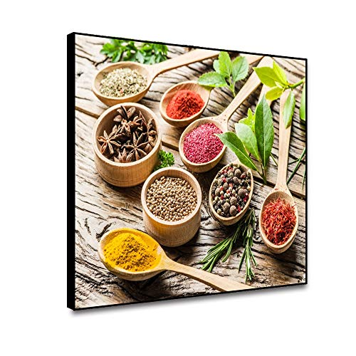 Leowefowa Unframed Wall Poster Canvas Wall Art Prints Spices in Spoons On Wood Table Canvas Painting Modern Kitchen Decoration Room Wall Picture Resturant Dinning Room Decor 24x18inch